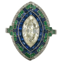 Art Deco 2 Carat Marquise Diamond Platinum Long Navette Cocktail Engagement Ring