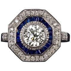 Art Deco Style 2 Carat Old Diamond Sapphire Cocktail Ring