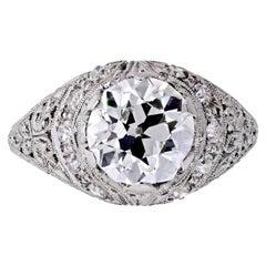 Art Deco 2 Carat Old European Cut Diamond F/SI1 GIA Opulent Filigree Engagement