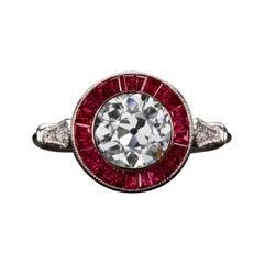 Art Deco Style 2 Carat Old European Cut Diamond Ring