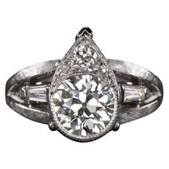 Art Deco 2 Carat Vintage Old Cut Diamond Ring
