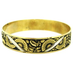 Art Deco 2 Tones Gold Floral Tarnished Bangle, 18kt White & Yellow Gold, France