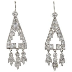 Art Deco 2.0 Carat Diamond Rare Platinum Drop Earrings