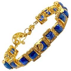 Art Deco Style 20 Karat Yellow Gold Mosaic Sapphire Coomi Bracelet