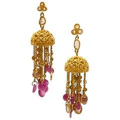 Art Deco 20 Karat Yellow Gold Ruby Chandelier Coomi Earrings