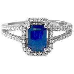 Art Deco Style 2.00 Carat Blue Sapphire Diamond Ring