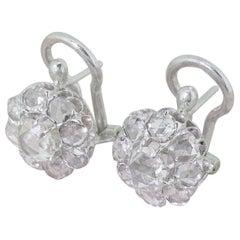 Art Deco 2.00 Carat Rose Cut Diamond Cluster Earrings