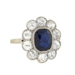Art Deco 2.00 Carat Sapphire and Diamond Cluster Ring