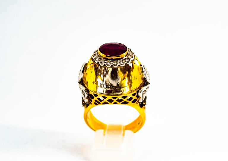 Round Cut Art Deco Style 1.80 Carat White Diamond Ruby Citrine Yellow Gold Cocktail Ring For Sale