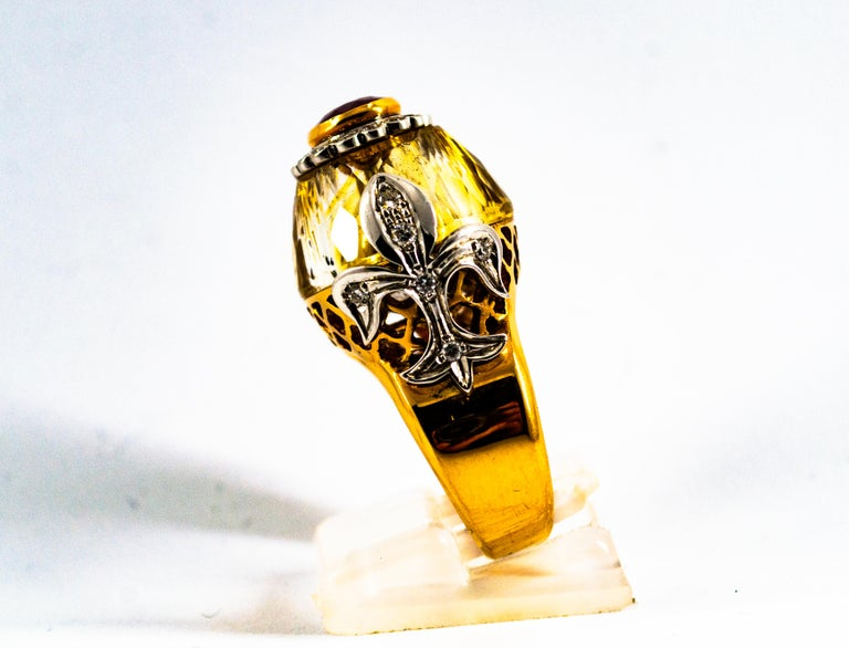 Art Deco Style 1.80 Carat White Diamond Ruby Citrine Yellow Gold Cocktail Ring In New Condition For Sale In Naples, IT