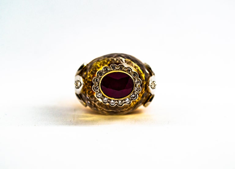 Women's or Men's Art Deco Style 1.80 Carat White Diamond Ruby Citrine Yellow Gold Cocktail Ring For Sale