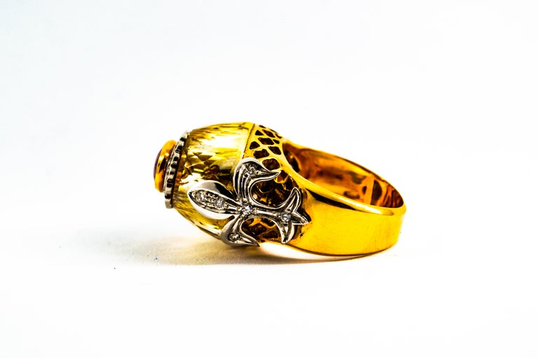 Art Deco Style 1.80 Carat White Diamond Ruby Citrine Yellow Gold Cocktail Ring For Sale 2