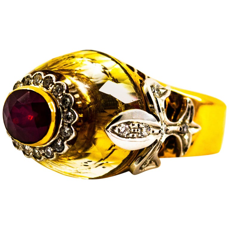 Art Deco Style 1.80 Carat White Diamond Ruby Citrine Yellow Gold Cocktail Ring For Sale