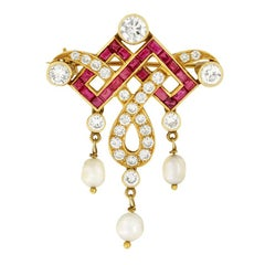 Art Deco 2.00ct Diamond, Ruby and Pearl Necklace, c.1930s