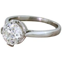 Art Deco 2.01 Carat Old Cut Diamond Engagement Ring