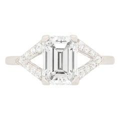 Art Deco 2.01 Carat Emerald Cut Diamond Engagement Ring, circa 1920s