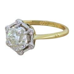 Art Deco 2.02 Carat Old Cut Diamond Solitaire Ring, circa 1920