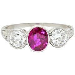 Art Deco 2.03 Carat No Heart Burma Ruby Diamond Platinum Three-Stone Ring