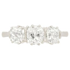 Art Deco 2.05 Carat Diamond Three-Stone Ring, circa 1920s
