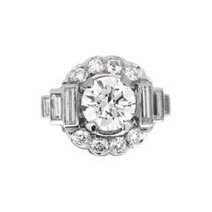 Art Deco 2.05ct Cut Diamond Cluster Ring, Platinum, France, circa 1930