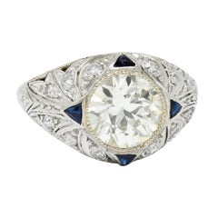 Art Deco 2.06 Carats Old European Diamond Sapphire Platinum Engagement Ring GIA