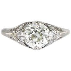Art Deco 2.06 Carat Old European Cut Certified Diamond Platinum Engagement Ring