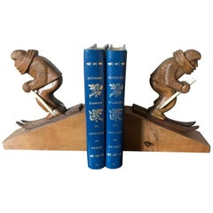 Art Deco 20th century French Wooden Skiing Bookends, 1930s
