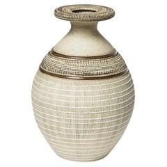 Art Deco 20th Century White and Grey Ceramic Vase by Lucien Brisdoux, 1930