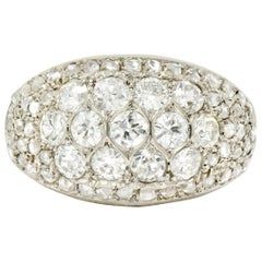 Art Deco 2.10 Carat Diamond 18 Karat White Gold Pave Bombe Band Ring