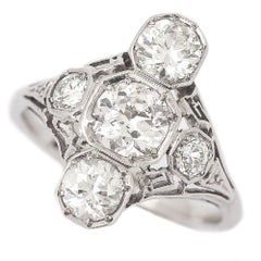 Art Deco 2.10 Carat Diamond Trilogy Ring Platinum & 18 Karat White Gold, c.1920