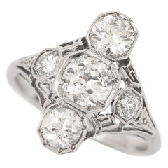 Art Deco 2.10 Carat OEC Diamond and Platinum Three-Stone Ring, circa 1925