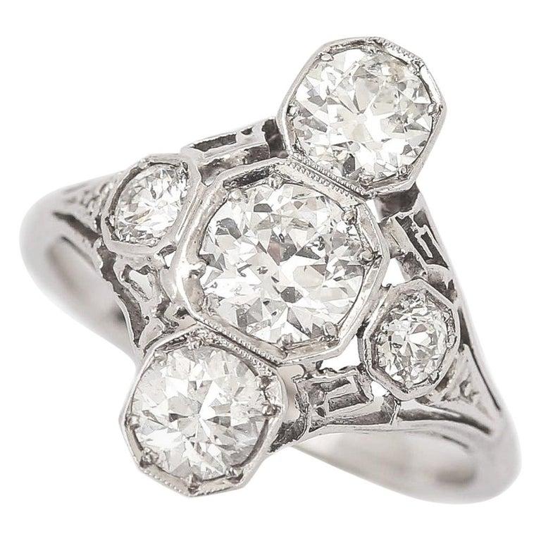 Art Deco 2.10 Carat OEC Diamond and Platinum Three-Stone Ring, circa 1925 For Sale