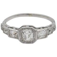 Art Deco 2.10 Carat Old Mine Diamond Seven-Stone Platinum Ring