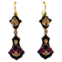Art Deco 2.10 Carat White Diamond Ruby Blue Sapphire Onyx Yellow Gold Earrings