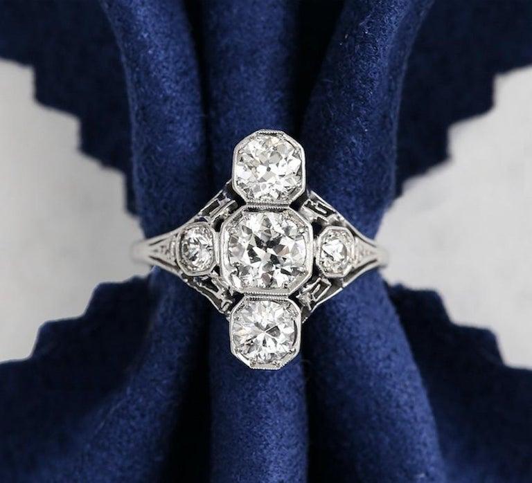Art Deco 2.10 Carat OEC Diamond and Platinum Three-Stone Ring, circa 1925 For Sale 10