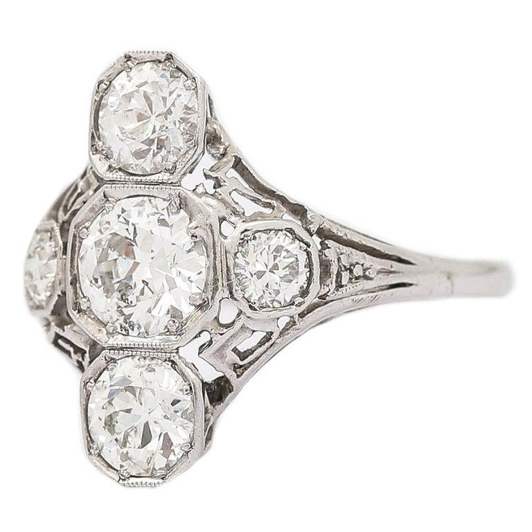 Old European Cut Art Deco 2.10 Carat OEC Diamond and Platinum Three-Stone Ring, circa 1925 For Sale