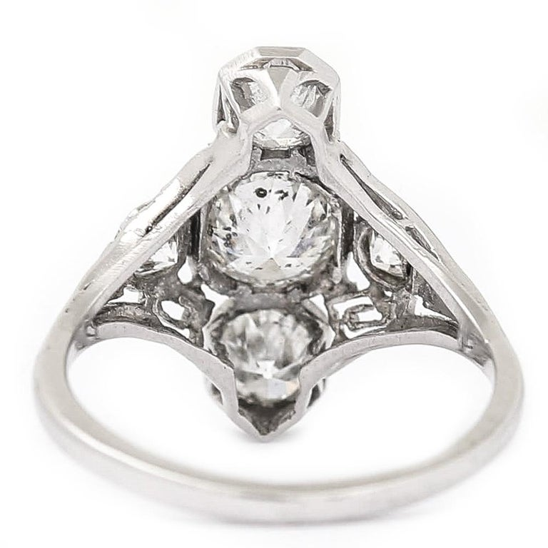 Art Deco 2.10 Carat OEC Diamond and Platinum Three-Stone Ring, circa 1925 For Sale 3