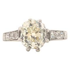 Art Deco 2.11 Carat Diamond Engagement Gold Ring
