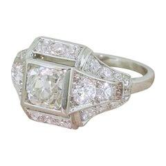 Art Deco 2.11 Carat Old Cut Diamond Ring