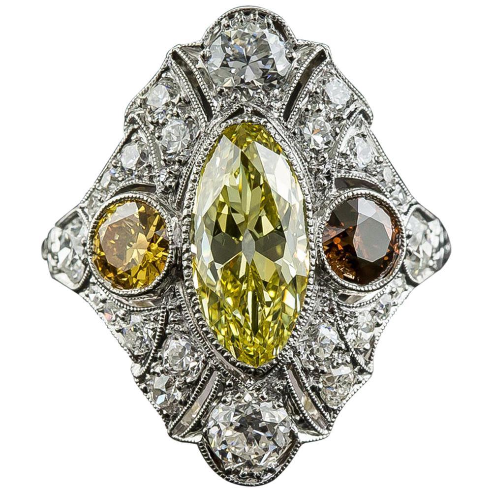Art Deco 2.12 Carat Fancy Intense Yellow Moval Diamond Ring, GIA