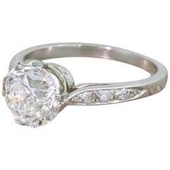 Art Deco 2.14 Carat Old Cut Diamond Platinum Engagement Ring