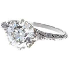 Art Deco GIA 2.14 Carat Old European Cut Diamond Platinum Ring