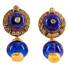 Art Deco 21.50 Carat White Diamond Tanzanite Yellow Gold Stud Dangle Earrings