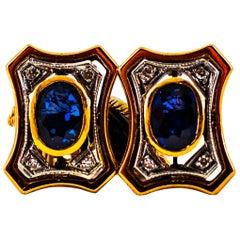 Art Deco Style  2.16 Carat Diamond Ruby Blue Sapphire Onyx Yellow Gold Cufflinks