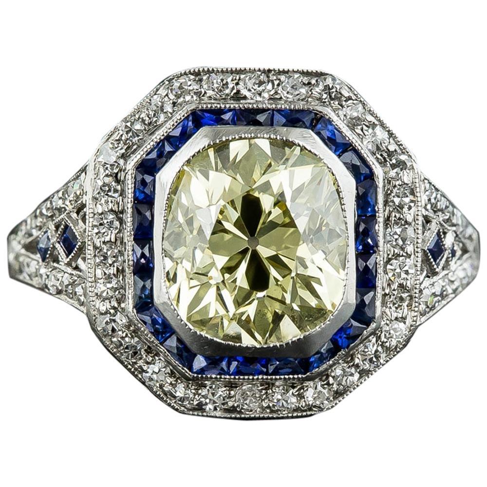 Art Deco 2.18 Carat Fancy Yellow Diamond Ring with Calibre Sapphires