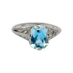 Art Deco 2.1ct Pastel Blue Aquamarine in 14k White Gold Solitaire Filigree Ring