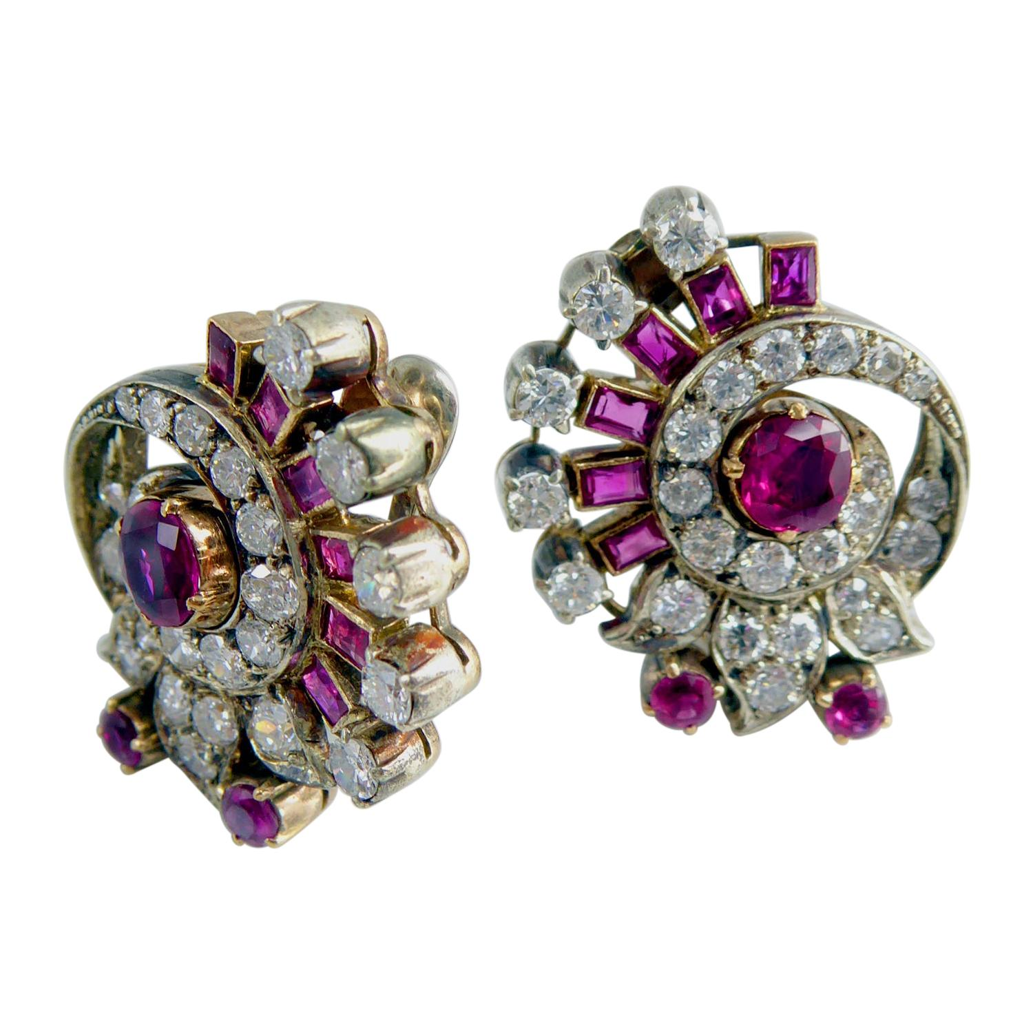 Art Deco 2.20 Carat Diamond and Ruby Earrings, Clip on Fittings