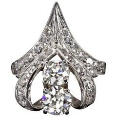 Art Deco 2.20 Carat Old Cut Diamond Ring
