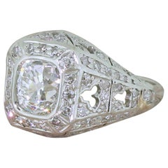 Art Deco 2.22 Carat Old Cut Diamond Cluster Ring, circa 1925