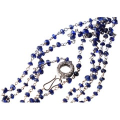 22.20 Karat Sapphire 0.44 Karat White Diamonds Beaded White Gold Necklace